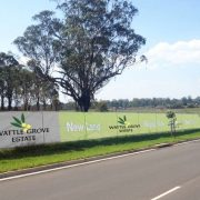 Mesh Banner being used to advertise new land release.